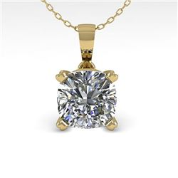 0.50 CTW VS/SI Cushion Diamond Designer Necklace 14K Yellow Gold - REF-85W8H - 38414