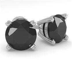 2.0 CTW Black Diamond Stud Designer Earrings 18K White Gold - REF-63K8R - 32307