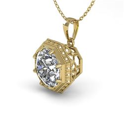 0.50 CTW VS/SI Diamond Solitaire Necklace 18K Yellow Gold - REF-97Y3N - 35992