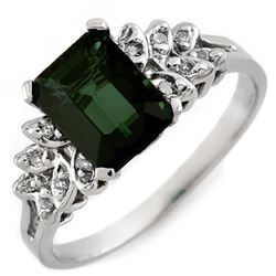 2.12 CTW Green Tourmaline & Diamond Ring 10K White Gold - REF-37M8F - 11117