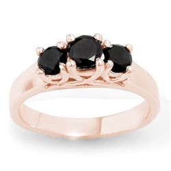 0.55 CTW Vs Certified Black Diamond 3 Stone Ring 14K Rose Gold - REF-34H5W - 13839
