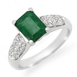 1.76 CTW Emerald & Diamond Ring 10K White Gold - REF-35H6W - 14548