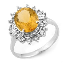 3.45 CTW Citrine & Diamond Ring 18K White Gold - REF-60N2Y - 11095