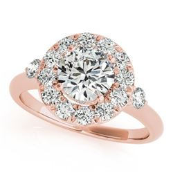 1.5 CTW Certified VS/SI Diamond Solitaire Halo Ring 18K Rose Gold - REF-404M4F - 26312