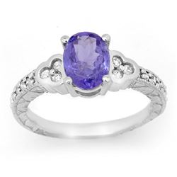 2.42 CTW Tanzanite & Diamond Ring 14K White Gold - REF-65W3H - 14253