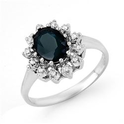2.04 CTW Blue Sapphire & Diamond Ring 18K White Gold - REF-43H3W - 13070
