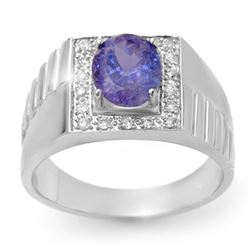 2.75 CTW Tanzanite & Diamond Mens Ring 10K White Gold - REF-69T3X - 13421
