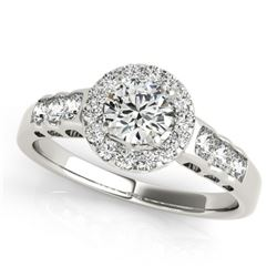 1.55 CTW Certified VS/SI Diamond Solitaire Halo Ring 18K White Gold - REF-394M2F - 26979