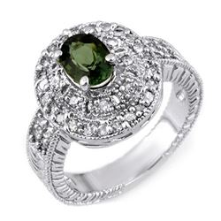 1.73 CTW Green Tourmaline & Diamond Ring 18K White Gold - REF-94T2X - 11132