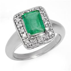 2.03 CTW Emerald & Diamond Ring 18K White Gold - REF-74T2X - 13641