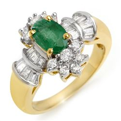1.75 CTW Emerald & Diamond Ring 14K Yellow Gold - REF-70F9M - 10585