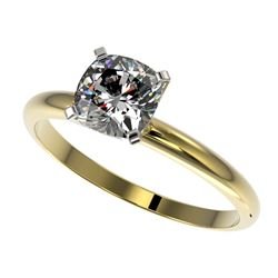 1 CTW Certified VS/SI Quality Cushion Cut Diamond Solitaire Ring 10K Yellow Gold - REF-297F2M - 3290
