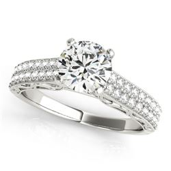 1.41 CTW Certified VS/SI Diamond Solitaire Antique Ring 18K White Gold - REF-393N6Y - 27318