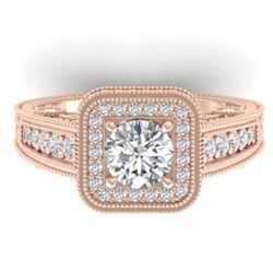 2 CTW Certified VS/SI Diamond Art Deco Halo Ring 14K Rose Gold - REF-258F2M - 30496