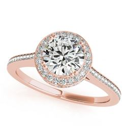 1.55 CTW Certified VS/SI Diamond Solitaire Halo Ring 18K Rose Gold - REF-412Y5N - 26366