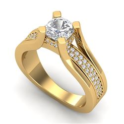1.7 CTW Cushion VS/SI Diamond Solitaire Micro Pave Ring 18K Yellow Gold - REF-472K8R - 37165