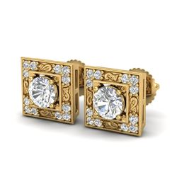 1.63 CTW VS/SI Diamond Solitaire Art Deco Stud Earrings 18K Yellow Gold - REF-254H5W - 37270