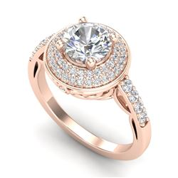 1.7 CTW VS/SI Diamond Solitaire Art Deco Ring 18K Rose Gold - REF-436K4R - 37254