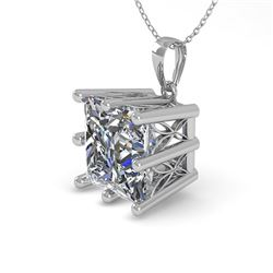 1 CTW VS/SI Princess Diamond Solitaire Necklace 18K White Gold - REF-285Y2N - 35868