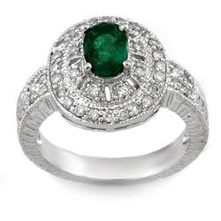 1.58 CTW Emerald & Diamond Ring 14K White Gold - REF-74F2M - 10870