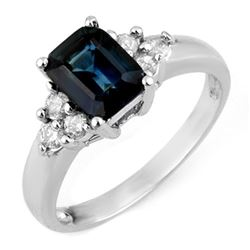 2.66 CTW Blue Sapphire & Diamond Ring 18K White Gold - REF-53K5R - 11336