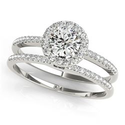 0.85 CTW Certified VS/SI Diamond 2Pc Wedding Set Solitaire Halo 14K White Gold - REF-116K5R - 30795