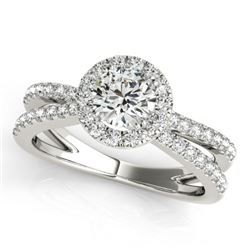1.55 CTW Certified VS/SI Diamond Solitaire Halo Ring 18K White Gold - REF-402M9F - 26623