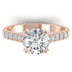 2.4 CTW Certified VS/SI Diamond Solitaire Art Deco Ring 14K Rose Gold - REF-674F2M - 30442