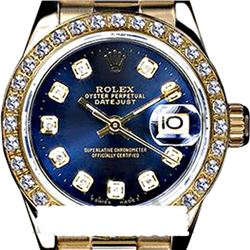 Rolex Men's 18K Yellow President, QuickSet, Diamond Dial & Diamond Bezel - REF-1243W6K