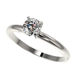 0.54 CTW Certified H-SI/I Quality Diamond Solitaire Engagement Ring 10K White Gold - REF-54F2M - 363