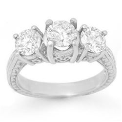 2.0 CTW Certified VS/SI Diamond 3 Stone Ring 18K White Gold - REF-333H3W - 13396