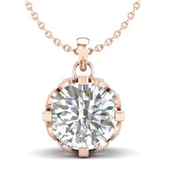 1.5 CTW VS/SI Diamond Solitaire Art Deco Stud Necklace 18K Rose Gold - REF-363W5H - 36846