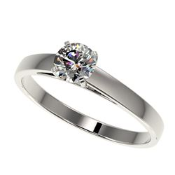 0.50 CTW Certified H-SI/I Quality Diamond Solitaire Engagement Ring 10K White Gold - REF-51M3F - 329