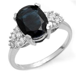 3.80 CTW Blue Sapphire & Diamond Ring 14K White Gold - REF-63K6R - 12465
