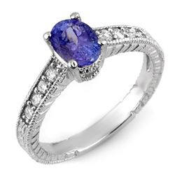1.25 CTW Tanzanite & Diamond Ring 18K White Gold - REF-57F3M - 10884