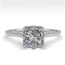 1.0 CTW VS/SI Princess Diamond Solitaire Engagement Ring 18K White Gold - REF-283K5R - 35751