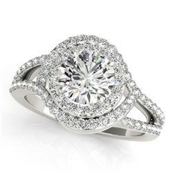 1.6 CTW Certified VS/SI Diamond Solitaire Halo Ring 18K White Gold - REF-245F6M - 26994