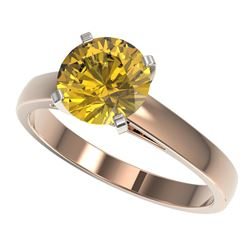 2 CTW Certified Intense Yellow SI Diamond Solitaire Engagement Ring 10K Rose Gold - REF-417N6Y - 330