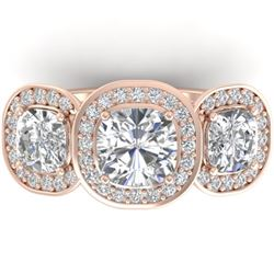 2.7 CTW Cushion Cut Certified VS/SI Diamond Art Deco 3 Stone Ring 14K Rose Gold - REF-592T8X - 30343