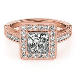 1.6 CTW Certified VS/SI Princess Diamond Solitaire Halo Ring 18K Rose Gold - REF-570K9R - 27121