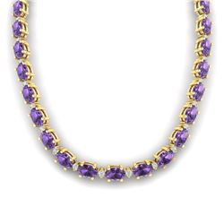 61.85 CTW Amethyst & VS/SI Certified Diamond Eternity Necklace 10K Yellow Gold - REF-275R8K - 29499