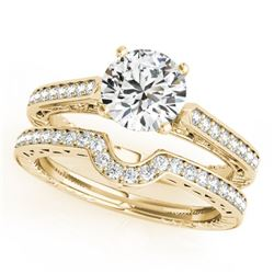 0.67 CTW Certified VS/SI Diamond Solitaire 2Pc Wedding Set Antique 14K Yellow Gold - REF-95F6M - 315