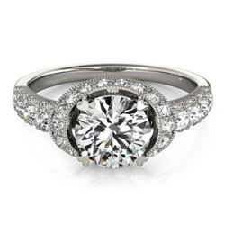 1.75 CTW Certified VS/SI Diamond Solitaire Halo Ring 18K White Gold - REF-420H2W - 27024