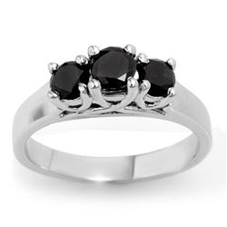 0.55 CTW Vs Certified Black Diamond 3 Stone Ring 14K White Gold - REF-34K5R - 13840
