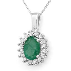 3.48 CTW Emerald & Diamond Pendant 14K White Gold - REF-47N6Y - 14015