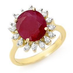 3.68 CTW Ruby & Diamond Ring 10K Yellow Gold - REF-70Y2N - 12709
