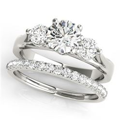 1.67 CTW Certified VS/SI Diamond 3 Stone 2Pc Wedding Set 14K White Gold - REF-255M6F - 32030
