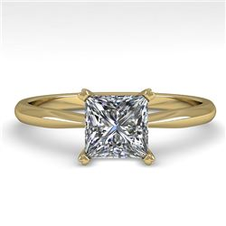 1 CTW Princess Cut VS/SI Diamond Engagement Designer Ring 18K Yellow Gold - REF-282M2F - 32416