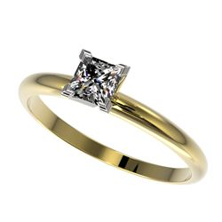 0.50 CTW Certified VS/SI Quality Princess Diamond Solitaire Ring 10K Yellow Gold - REF-77F6M - 32870