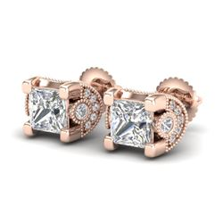 2.5 CTW Princess VS/SI Diamond Art Deco Stud Earrings 18K Rose Gold - REF-642M2F - 37152